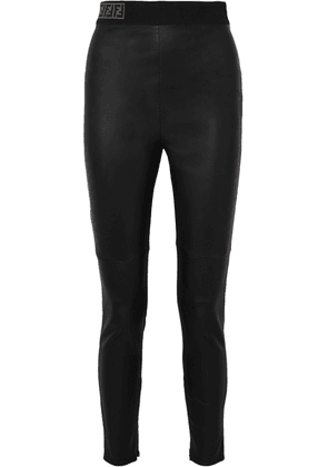 Fendi - Intarsia-trimmed Leather Skinny Pants - Black