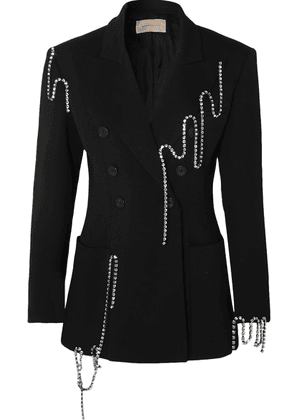 Christopher Kane - Squiggle Crystal-embellished Double-breasted Twill Blazer - Black