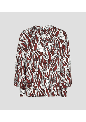 Reiss Alana Print - Tiger-print Blouse in Brown/white, Womens, Size 4