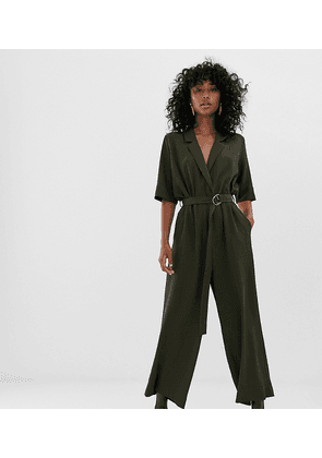 Weekday tailored jumpsuit in khaki green