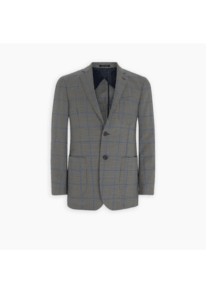 Bethnal Monochrome and Blue Check and Houndstooth Wool Blazer