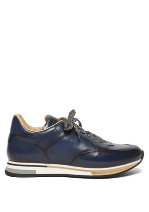 Dunhill - Duke Patina Low Top Leather Trainers - Mens - Navy