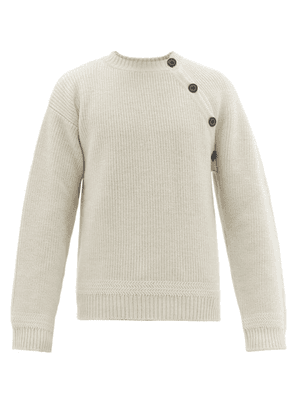 Lanvin - Asymmetric Buttoned Wool Sweater - Mens - White