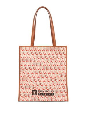 Connolly - Geometric Print Canvas And Leather Tote Bag - Womens - Red Multi