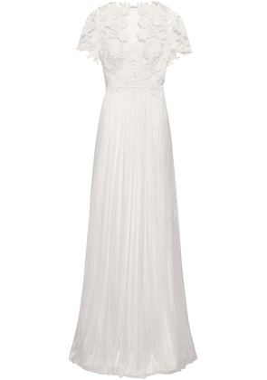 Catherine Deane Open-back Pleated Silk And Guipure Lace Bridal Gown Woman Ivory Size 14