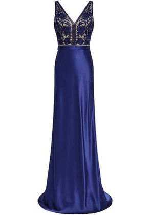 Catherine Deane Olivia Embroidered Tulle And Satin-paneled Gown Woman Royal blue Size 8