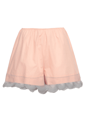 Prada Organza-trimmed Cotton Shorts Woman Peach Size 38