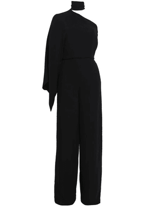 Valentino One-shoulder Draped Silk-crepe Jumpsuit Woman Black Size 38