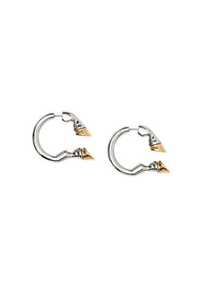 Burberry Palladium and Gold-plated Hoof Open-hoop Earrings - Silver