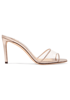 Jimmy Choo - Stacey 85 Metallic Leather And Pvc Mules - Gold