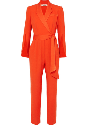 Diane von Furstenberg - Mick Belted Crepe Wrap-effect Jumpsuit - Orange