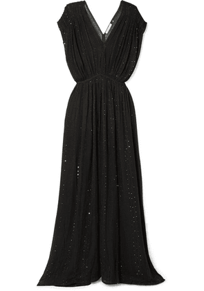 Mes Demoiselles - Nokomis Sequin-embellished Metallic Gauze Maxi Dress - Black