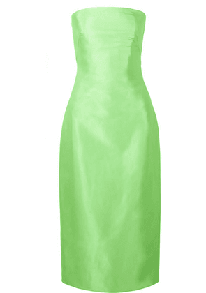 Brandon Maxwell - Strapless Satin-gazar Midi Dress - Lime green