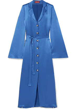 STAUD - Sandy Belted Satin Dress - Blue