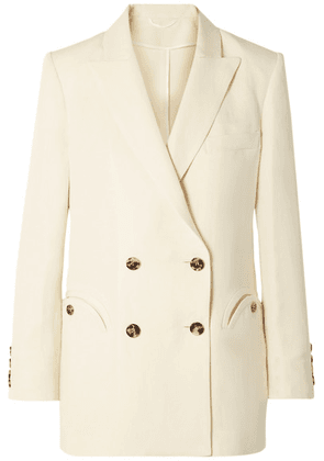 Blazé Milano - Savannah Everyday Double-breasted Linen And Silk-blend Blazer - Cream