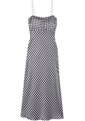 BERNADETTE - Florence Gingham Silk-satin Midi Dress - Black