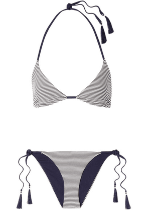 Skin - Joan Reversible Striped Triangle Bikini - Midnight blue