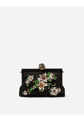 Dolce & Gabbana Mini Bags and Clutches - LARGE BROCADE VANDA BAG WITH EMBROIDERY BLACK