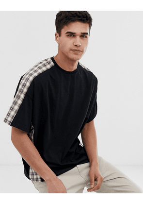 ASOS DESIGN oversized t-shirt with woven check cut & sew panels