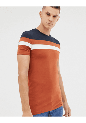 ASOS DESIGN t-shirt with contrast body and sleeve panels in tan