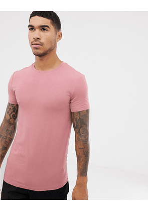 ASOS DESIGN organic muscle fit crew neck t-shirt with stretch in pink