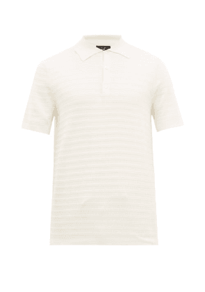 Dunhill - Striped Mulberry And Silk Knitted Polo Shirt - Mens - Beige