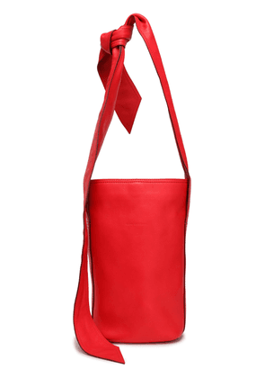 Elena Ghisellini Knotted Textured-leather Bucket Bag Woman Tomato red Size --