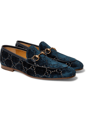 86b294587 Gucci - New Jordaan Horsebit Leather-trimmed Logo-embroidered Velvet  Loafers - Navy