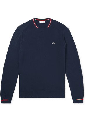 Lacoste - Stripe-trimmed Cotton Sweater - Navy