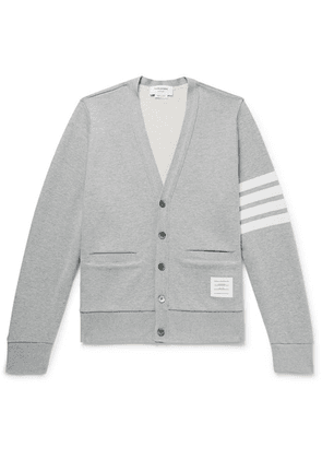 Thom Browne - Striped Loopback Cotton-jersey Cardigan - Gray