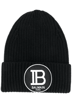 Balmain logo patch beanie - Black