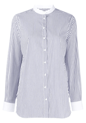 Closed striped long-sleeve shirt - Blue