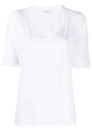 Closed short-sleeve flared T-Shirt - White