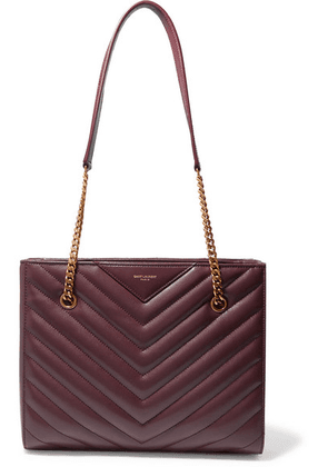SAINT LAURENT - Tribeca Small Quilted Textured-leather Tote - Burgundy