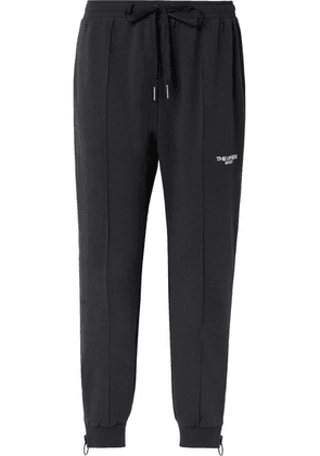 The Upside - Embroidered Cotton-blend Jersey Track Pants - Black