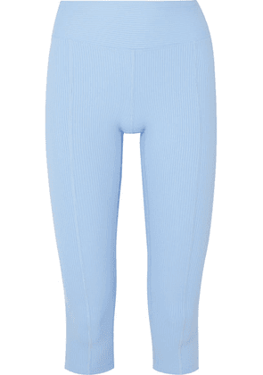 Year of Ours - Reformer Cropped Ribbed Stretch Leggings - Light blue