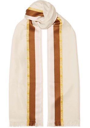Loewe - Embroidered Striped Silk, Wool And Cashmere-blend Scarf - White