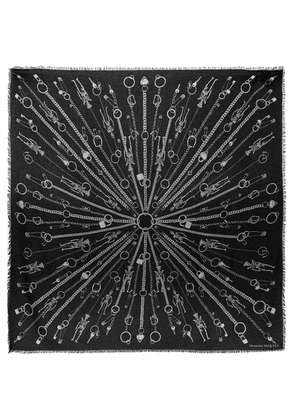 Alexander McQueen - Printed Modal And Wool-blend Twill Scarf - Black