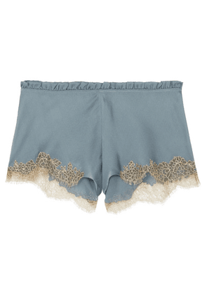 Carine Gilson - Flottant Chantilly Lace-trimmed Silk-satin Shorts - Blue
