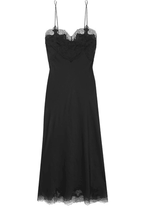 Carine Gilson - Chantilly Lace-trimmed Silk-satin Nightdress - Black