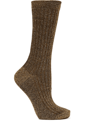 Isabel Marant - Lily Ribbed Metallic Knitted Socks - one size