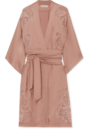 Carine Gilson - Egérie Chantilly Lace-trimmed Silk-satin Robe - Antique rose