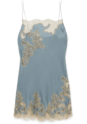 Carine Gilson - Chantilly Lace-trimmed Silk-satin Chemise - Blue