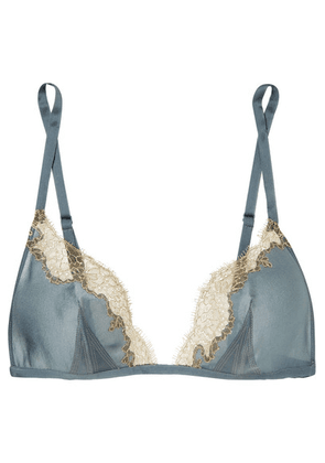 Carine Gilson - Chantilly Lace-trimmed Silk Soft-cup Triangle Bra - Blue