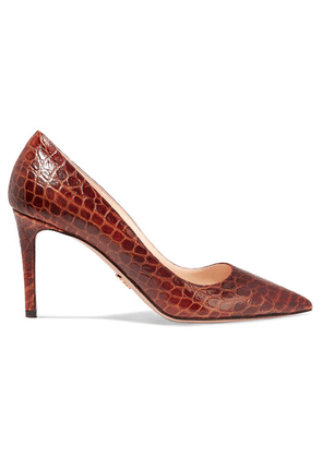 Prada - 85 Croc-effect Leather Pumps - Tan