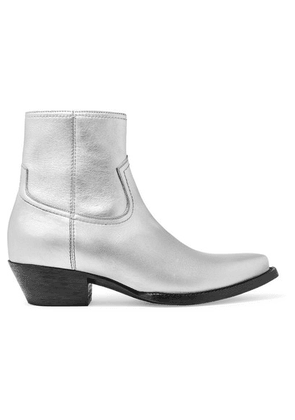 SAINT LAURENT - Lukas Leather Ankle Boots - Silver