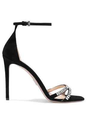 Prada - 105 Crystal-embellished Suede Sandals - Black