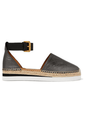 See By Chloé - Metallic Leather Wedge Espadrilles - IT39