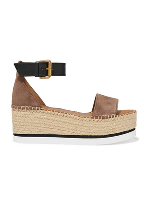 See By Chloé - Suede And Leather Espadrille Platform Sandals - Taupe