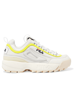 Fila - Disruptor Lux Logo-embroidered Leather And Suede Sneakers - White